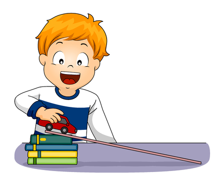Illustration of a Kid Boy Holding a Car on Plank to Demonstrate Acceleration Concept