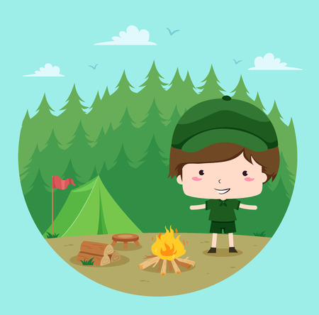 Illustration of a Little Boy in Full Camping Gear Proudly Showing the Bonfire He Made Stock Photo