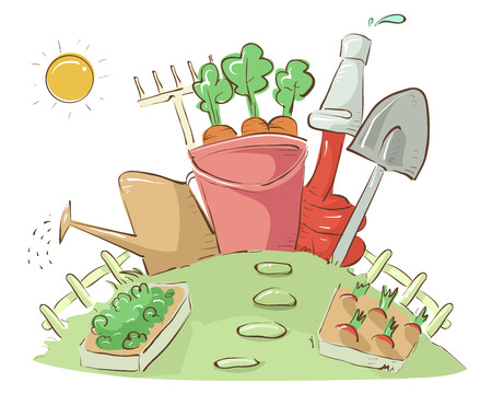 Illustration of Garden Plots with Different Gardening Tools like Pail, Watering Can, Hose, Shovel, and Rake Stock Photo