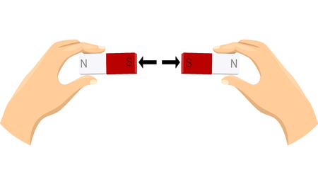 Illustration of Hands and Magnet with North and South Pole Mark Repelling Each Other Stock Photo