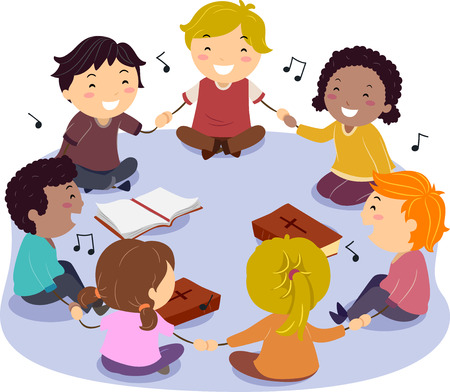 Illustration of Stickman Kids and their copies of the Bible Singing Praise