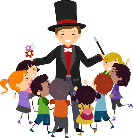 Illustration de Stickman Kids entourant un magicien tenant une baguette magique et des fleurs Banque d'images - 88561351