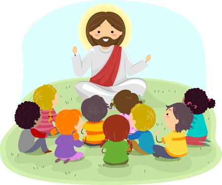 Illustratie van Stickman-kinderen die luisteren naar Jezus Christus die buitenshuis predikt Stockfoto