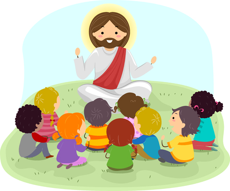 Illustration of Stickman Kids Listening to Jesus Christ Preaching Outdoors Stock Photo