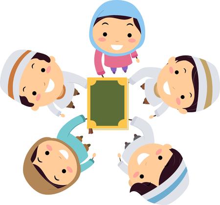 Illustration of Stickman Muslim Kids Holding the Quran Banco de Imagens