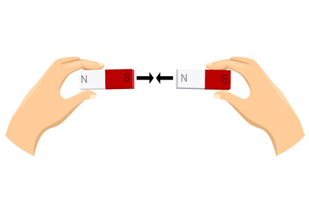 Illustration of Hands and Magnet with North and South Pole Mark Attracted to Each Other Stock Photo