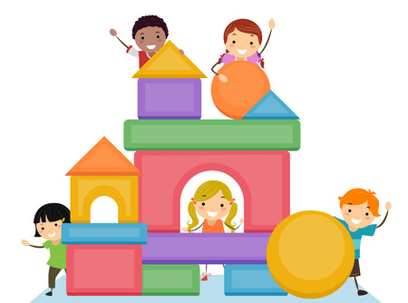 Illustration of Stickman Kids Stacking Basic Shape Blocks to Form a Building