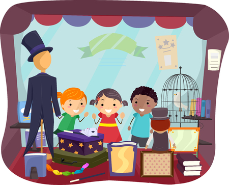 Illustration of Stickman Kids Looking Inside a Magic Shop Storefront