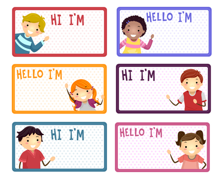 Illustration of Name Labels with Stickman Kids Saying Hi and Hello 스톡 콘텐츠