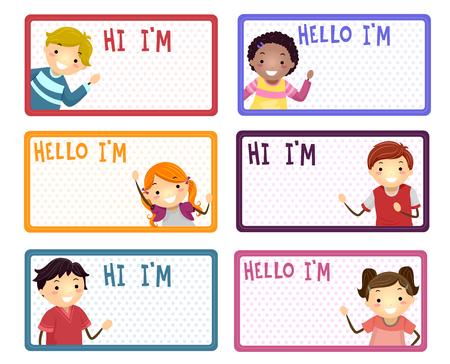Illustratie van naamlabels met Stickman-kinderen die hallo en hallo zeggen