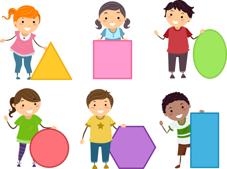Illustration of Stickman Kids Holding Basic Shapes from Triangle, Square, Oblong, Circle, Rectangle and Hexagon Stock Photo