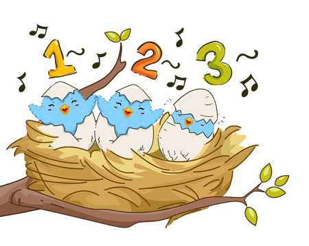 Illustration of Young Birds in a Nest Singing, Counting One, Two, Three