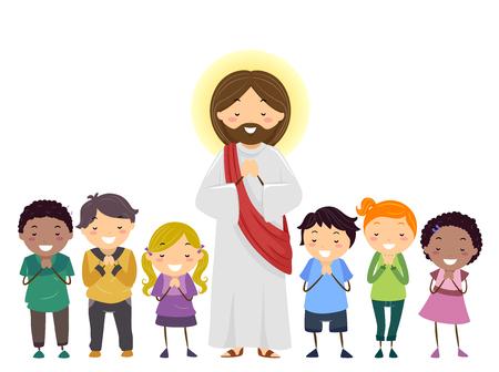 Illustration de Stickman Kids priant en plus de Jésus-Christ Banque d'images - 88561300