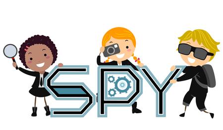 Illustration von Stickman Kids mit dem Spions-Schriftzug, der Lupe und Kamera hält Standard-Bild