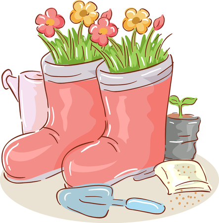Illustration of Flowers Planted in Upcycled Pair of Boots with Watering Can, Shovel, Seed Pack and Seedling