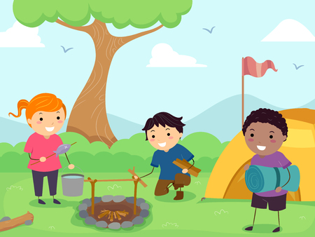 Illustration of Stickman Kids Preparing their Camp