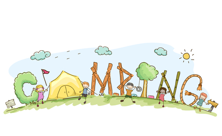 Illustration of Stickman Kids with Camping Lettering