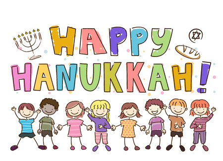 Illustration of Stickman Kids with Happy Hanukkah Greetings, Menorah, Bread and Judaism Symbol Doodles