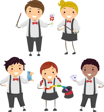 매직 스틱, 꽃, 새, 레인 보우 스카프, 모자 및 카드 놀이에서 Stickman 아이 들고 매직 도구의 그림