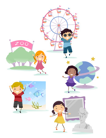 Illustration of Stickman Kids with Field Trip Location Elements