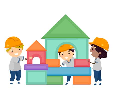 Illustration of Stickman Kids Wearing Hard Hats with Building Blocks