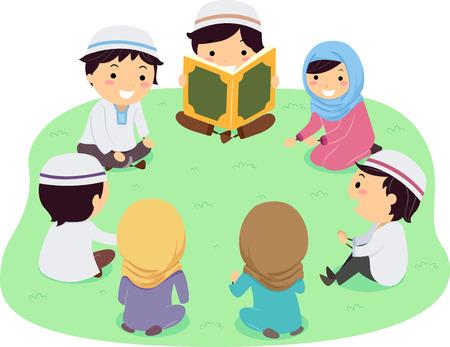 꾸란을 읽고 그룹으로 앉아 Stickman 무슬림 아이의 그림