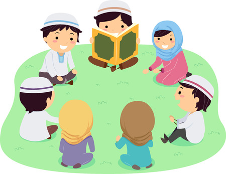 Illustration of Stickman Muslim Kids Sitting as a Group Reading the Quran