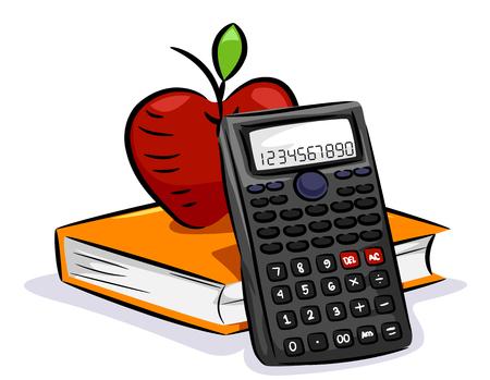 Ilustración de una calculadora científica con un libro de matemáticas y una manzana