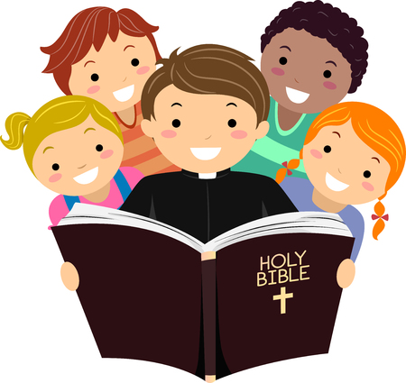 Illustration of Stickman Kids with a Priest Reading the Holy Bible Stock Photo