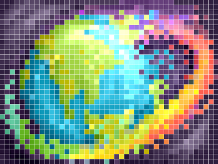 Illustration of the Earth with Rainbow Swirl in Pixel Art Фото со стока