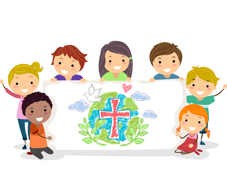 Illustration of Stickman Kids Holding Up a Christian Drawing in a Banner 스톡 콘텐츠