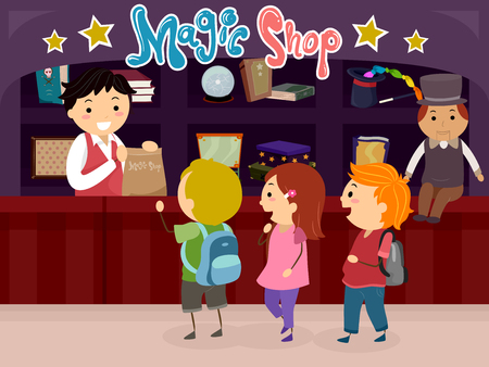Illustration of Stickman Kids Shopping for Props in a Magic Shop