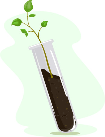 Illustration of a Test Tube with Soil and Plant. A Plant Experiment Concept Stock Photo