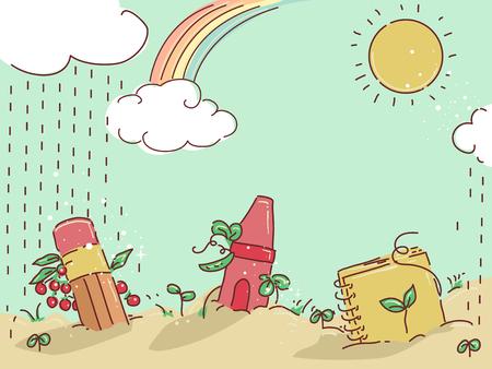 eaf21a199557 #88560778 - Ilustración de fondo de un jardín abstracto con cultivos y  materiales de aprendizaje como cuaderno, lápiz y lápiz