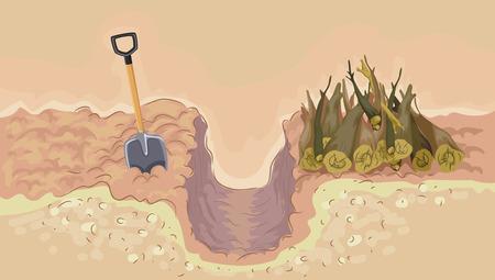 Illustration of a Trench with Piles of Logs and Shovel. Hugelkultur composting method