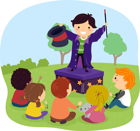 Illustration of Stickman Kids Outdoors Watching their Friend Perform Magic on Stage