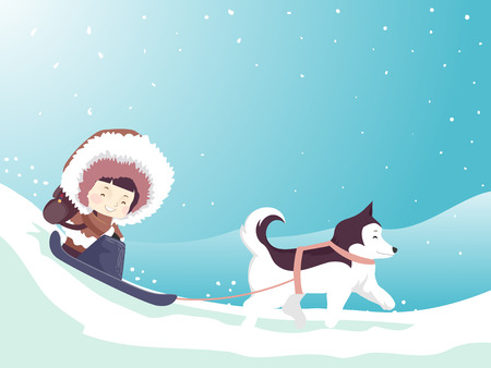 Colorful Illustration Featuring a Cute Little Girl Wearing a Thick Parka Riding a Sled Being Pulled by a Husky