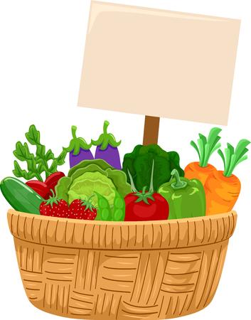 Illustratie van een mand vol groenten met een leeg bord