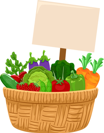 Illustration of a Basket Full of Vegetables with Blank Board Stock Photo