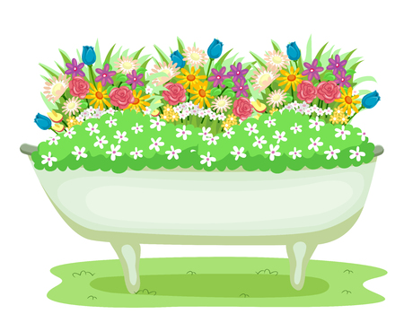 Illustration of Different Kinds of Flowers Growing in an Old Recycled Bathtub Stock Photo