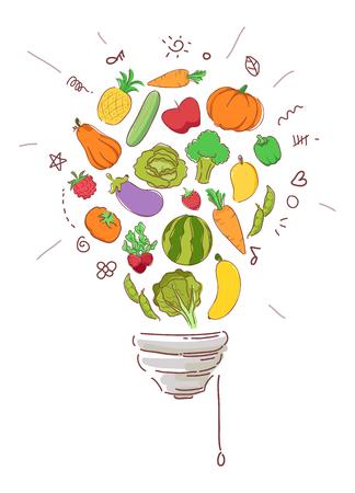 Illustration von Gemüse und Früchten bilden eine Glühbirne Standard-Bild - 88489041