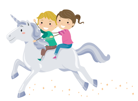 Colorful Illustration Featuring Cute Stickman Kids Riding a Fancy Unicorn