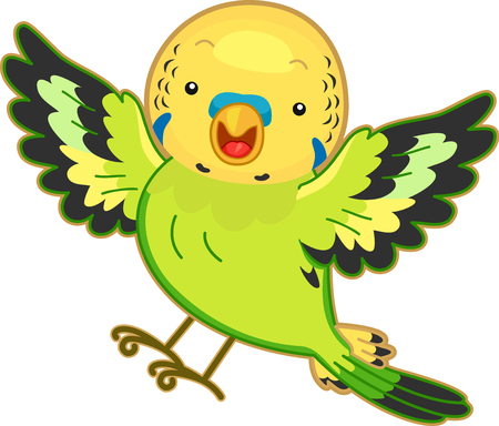 Cute Animal Illustration Featuring a Colorful Budgerigar Flapping its Wings Imagens