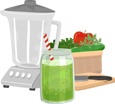 Illustration of a Green Smoothie in a Mason Jar with a Blender and Basket of Vegetables