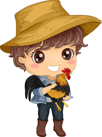 Colorful Illustration Featuring a Cute Little Boy in a Straw Hat Carrying a Rooster in His Arms Фото со стока