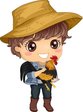 Kleurrijke illustratie met een schattige kleine jongen in een strooien hoed met een haan in zijn armen