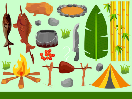 Illustration of Camping Elements from Grilled Fish, Bonfire, Banana Leaves to Tent Stock Photo
