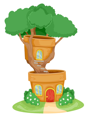 Illustration of a House Made of Clay Pots with a Bonsai Plant Stock Photo