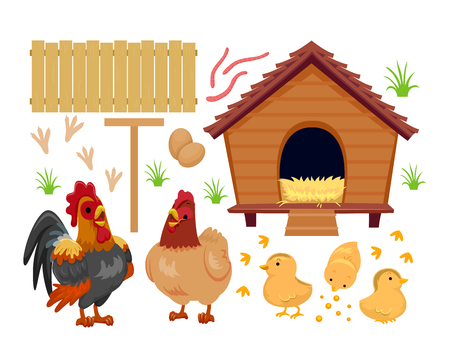 Illustration of a Chicken Coop with Chicken Family, Eggs, Fence, Grass and Worms Stock Photo