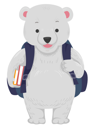 Cute Animal Illustration Featuring an Adorable Polar Bear in a Backpack Carrying Books in His Hand